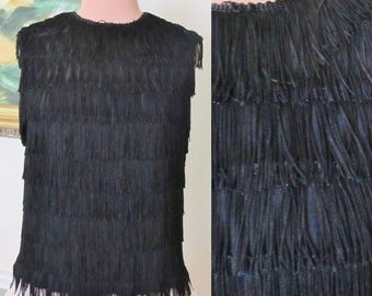 All Over Fringe Top, Flapper,  Sleeveless Black Blouse Tank, Buttons Down Back, Vintage