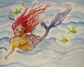 Mermaid fish seascape original fantasy painting Art by Delilah