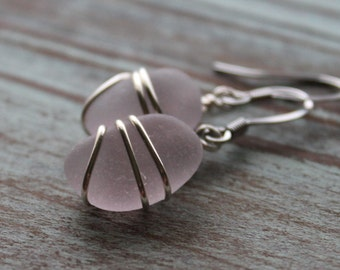 Genuine Lavender Purple Sea Glass Earrings - Vintage Rare Lavender Seaglass Earrings Wire Wrapped