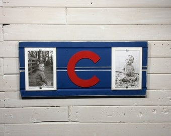 "Chicago cubs picture frame holds 2 4""x6"" photo, decor"