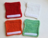 RESERVED Listing - Set of Four Hand Knit Hand Felted Wool Teapot Cozies with Velcro Closure