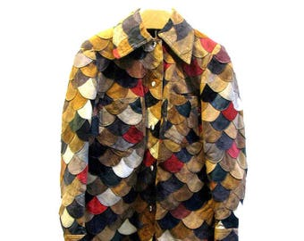 Vintage Leather Jacket  Womans Multcolor 1970s Leather and Suede Patchwork Suede Snap Front Coat Fits Wms Size Large