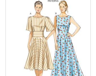 Sz 8/10/12/14/16 - Vogue Dress Pattern V8901 - Misses' Flared Skirt Dresses in Two Variations - Very Easy Vogue Patterns - Vogue Custom Fit