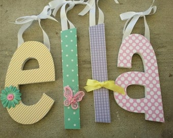 Wooden Letters, Perfectly Pastel Theme, Custom Baby Name Nursery Decor in Pink, Lavender, Yellow and Aqua with Butterflies and Flowers