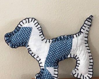 Doggie Ornament from Antique Indigo Quilt with Dark Blue Thread