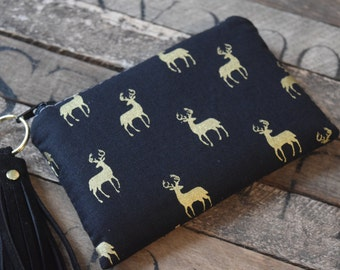 Oh Deer Coin bags with Leather Tassel, Black and Gold Deer, Deer Bag. Coin Purse, Coin Bag, Bridesmaids Gift, Coin Wallet