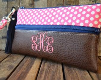 Pink Polka Dot Monogrammed and Vegan Wristlet, Smart Phone Bag, Grab N Go Wristlet, Clutch, Wallet, Brown Vegan Clutch, Smart Phone Bag
