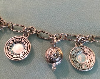 Tea Pot CHARM Bracelet, Silver, tea cup, saucer and teapot Charms, lovely and fun TEA bracelet