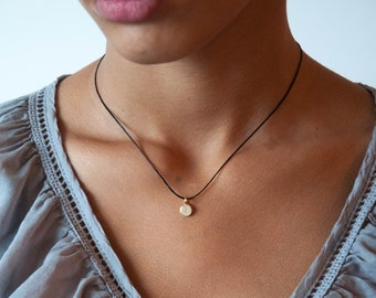 Tiny Initial Necklace in 14k solid gold, handstamped, customized, personalized gift