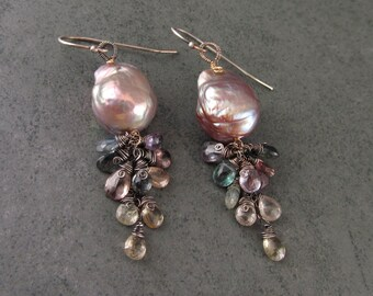 Baroque pearl and sapphire earrings, handmade sterling silver and gold filled earrings-OOAK