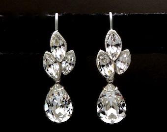 christmas prom bridal wedding bridesmaid gift Swarovski clear fancy marquise flower crystal rhinestone rhodium silver teardrop hook earrings