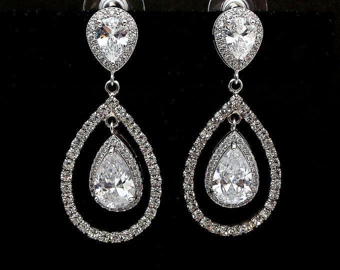 bridal jewelry wedding earrings bridesmaid gift prom pageant party Clear white teardrop cubic zirconia teardrop micropave halo post