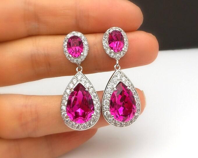 wedding bridal earrings jewelry christmas prom party bridesmaid gift cubic zirconia swarovski teardrop hot pink fuchisa crystal oval cz post