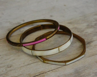 Vintage 80s Brass & Mother Of Pearl Inlay Bangle Bracelets/Boho/Hippie/Costume Jewelry