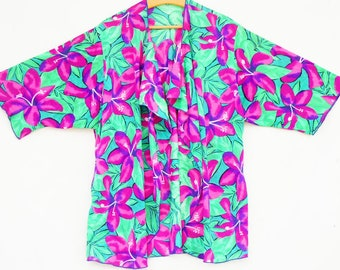 Vintage 70s-80s Floral Tropical Print Beach Cover Up Top/Blouse/Open Jacket/Resort/Pool Party