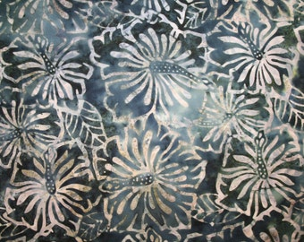 "Moda ""Make Waves Batik""  Large Hibiscus Flowers Allover on Gray Batik"