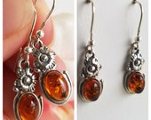Amber Earrings - Genuine Amber Earrings - Honey Amber Earrings - 925 Sterling Silver Jewelry - Free Shipping - Earrings - Amber Earrings