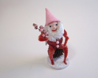 handmade pinecone elf - spun cotton, clay face elf, bump chenille, glass glitter, mercury glass beads, hand painted