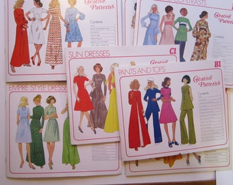 7 vintage patterns - CREATIVE PATTERNS - women's clothing, circa 1970s