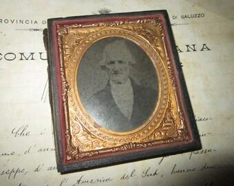 antique cased photo - 1/2 case, ornate gold frame insert - civil war era, late 1800s