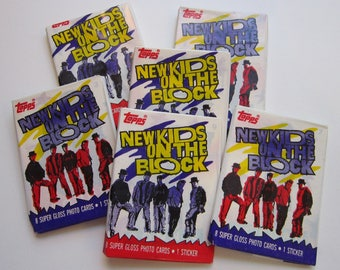 6 pkgs vintage NEW KiDS on the BLOCK movie cards and stickers - circa 1989 - wax pack New Kids trading cards