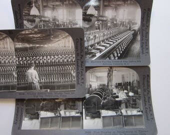 3 antique stereoview photos - winding bobbins, weaving taffeta silk, straightening silk fibers, textiles early 1900s, Keystone View Company