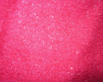 1 7/8 yards of raspberry red glitter knit in destash fabric