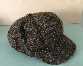 Vintage Tabrizi Newsboy Cap Messenger Hat Green Heather 100% Wool Classic Warm Winter Fashion Satin Lined Gifts Under 30 Fall Hats
