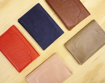 SALE -50% Leather card holder in brown or pink