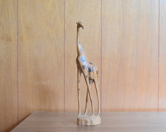 vintage hand carved wood giraffe figurine / midcentury safari home decor / handmade vintage