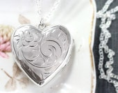 Large Sterling Silver Heart Locket Necklace, Vintage Flower Engraved Sterling Photo Pendant - Lots of Love
