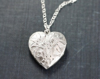 Vintage Sterling Silver Heart Locket Necklace, Deep Hand Chased Flower Engraved Photo Pendant - Sparkling Bouquet
