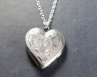 Sterling Silver Heart Locket Necklace, Vintage Birks Flower Engraved Sterling Two Picture Pendant - Love to Thee