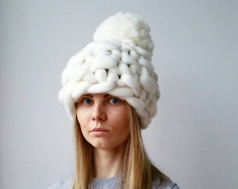 Luxury White Chunky Pom Pom Winter Hat