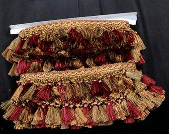 ART 1398 7112 Deep Red Gold Elegant Tassle Trim