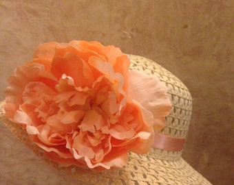 Spring 2017-Girls Straw Easter Hat - Beige Straw Hat - Apricot Flower Hat