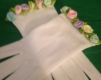 Girls Cotton Gloves- Easter Goves - Pastel Rose Trimmed Gloves
