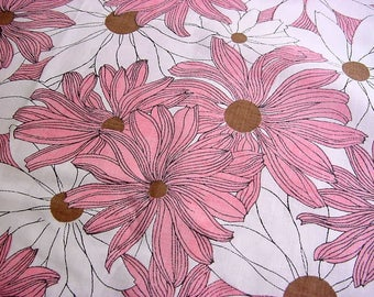 Large Pink Polka Dot Daisy Flowers -Fun Vintage 70s Mod Floral Fabric