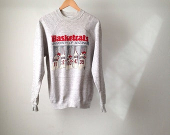 90s final four ARIZONA WILDCATS college basketball heather grey SWEATSHIRT