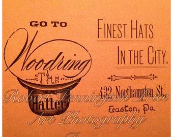 "Hat Advertising Print / Circa 1880's / 8"" X 8"""