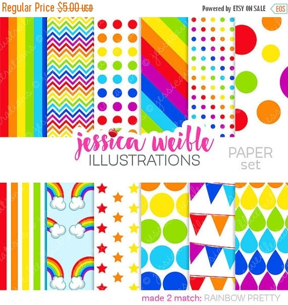 ON SALE Rainbow Pretty Cute Digital Papers for Commercial or Personal Use, Rainbow Patterns, Rainbow Backgrounds