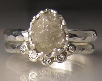 Raw Diamond Engagement Set, Raw Diamond Ring, Hammered Rough Diamond Ring, 2.47CTS
