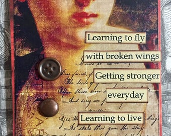 Learning To LiveAcEo Artist Trading Card Self Help Etsy Mixed Media ACEO Alteredhead On Etsy Valentine ATCOriginal Handmade Design Etsy