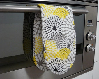 Double Oven Mitt - sunshine lemon yellow and grey sunbursts