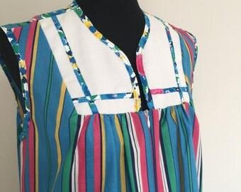 vintage 60s housedress smock pkus size plus figure sleeveless tinic turquoise striped 1970s hippie housewife WILMA