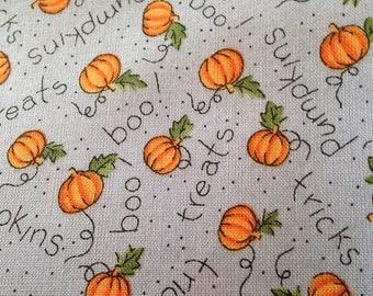Halloween Cotton Quilting fabric Pumpkins Trick or Treat Jack o Lantern