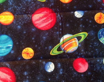 Planets Night Sky Stars Outer Space Cotton Quilting Fabric