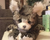Custom order for Gisele .. A Brown-Gray and White Bunny Fur Kitty Cat