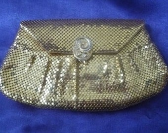 Vintage Whiting & Davis GOLD Metal-Mesh Clutch Purse with Rhinestone Clasp