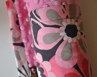 Baby Girl Blanket, XLARGE,  Medium & Light Pink and Grey Gray Flowers with Matching Pink Minky